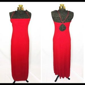 Laundry Shelli Segal Vintage Red Maxi Dress J141
